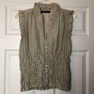 Zara 100% silk tan blouse